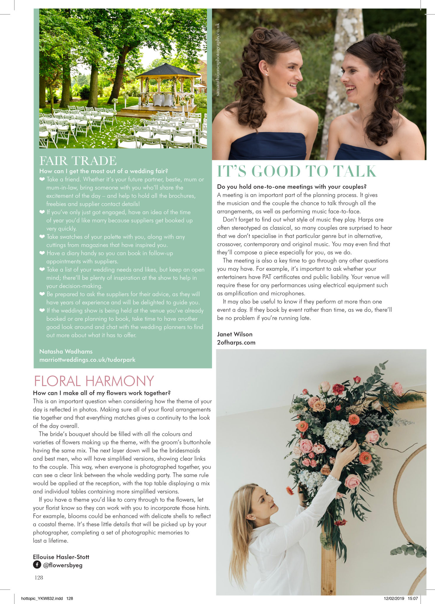 2 of Harps feature in Your Kent Wedding Magazine