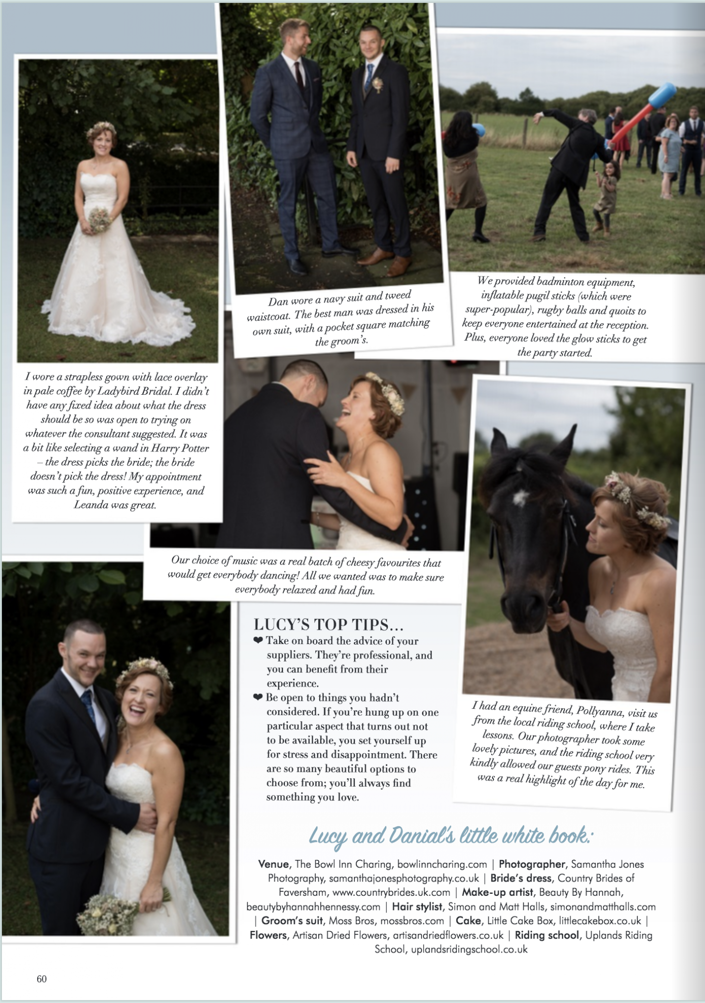 Kent wedding magazine four page feature Samantha Jones Photography