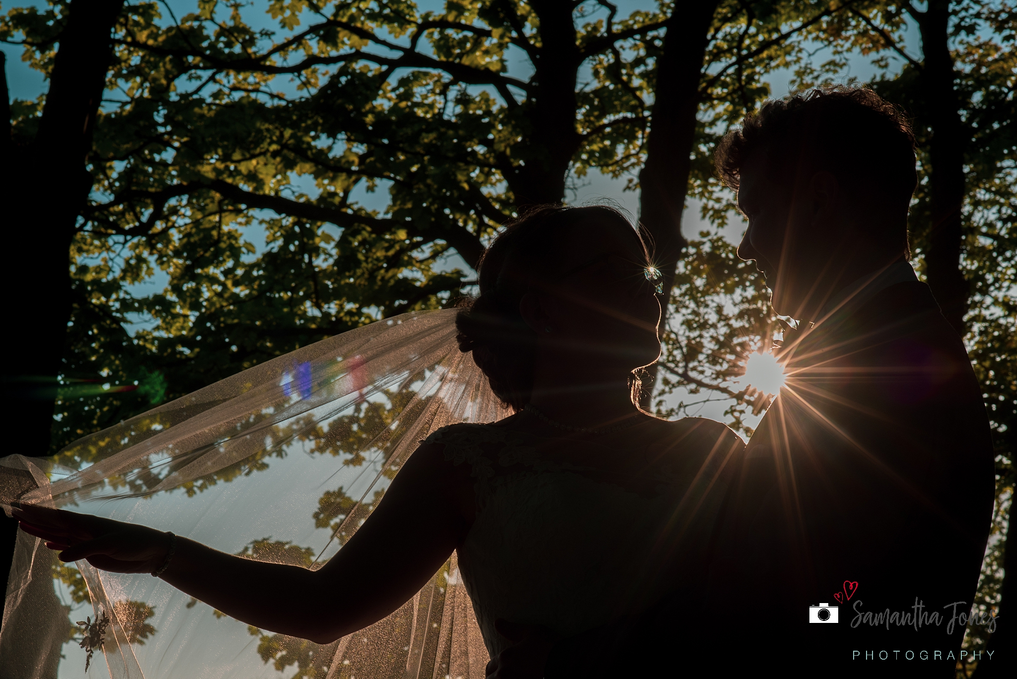 bride and groom in evening sunlight