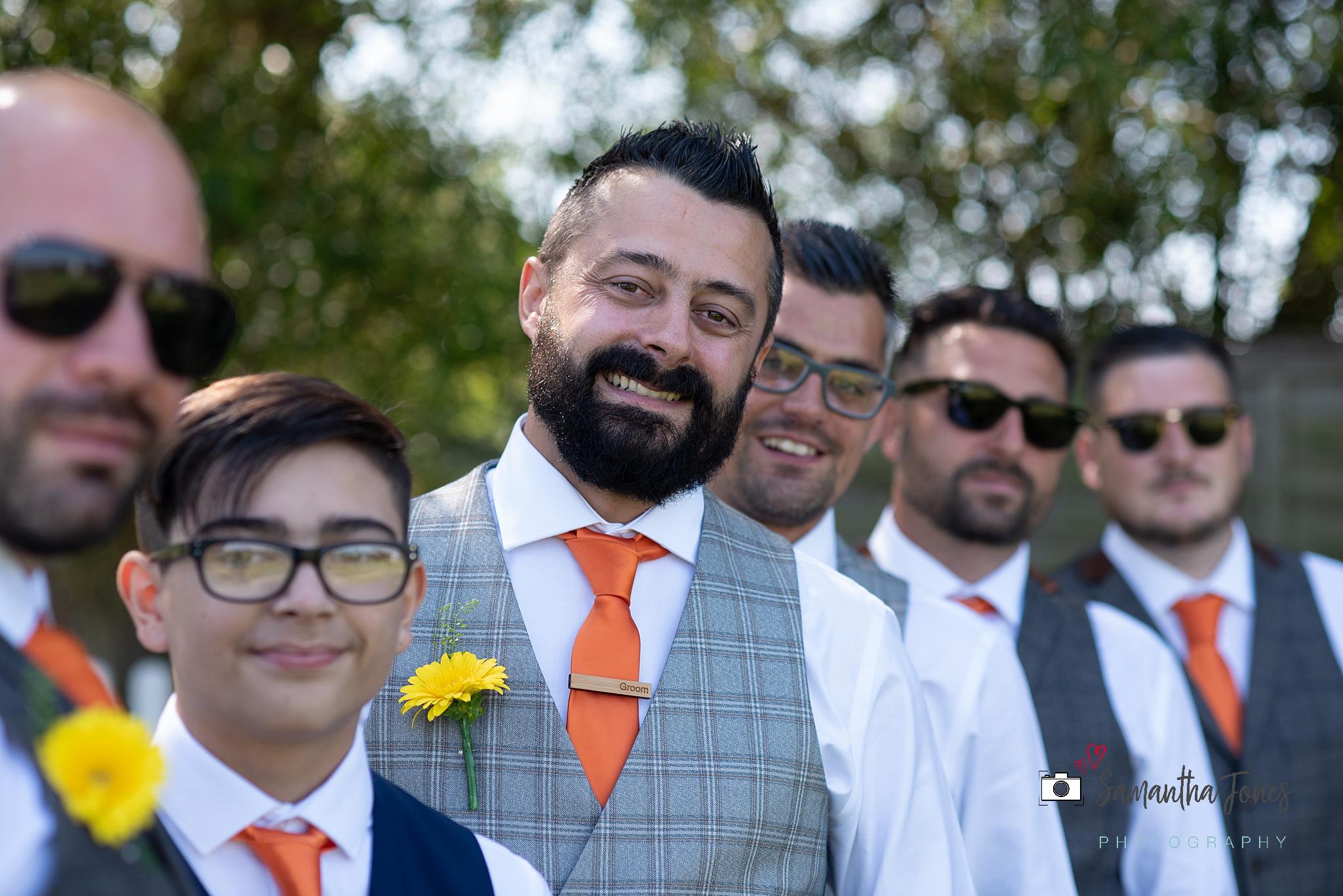 laughing groomsmen Kent wedding at Stonelees by Samantha Jones Photography