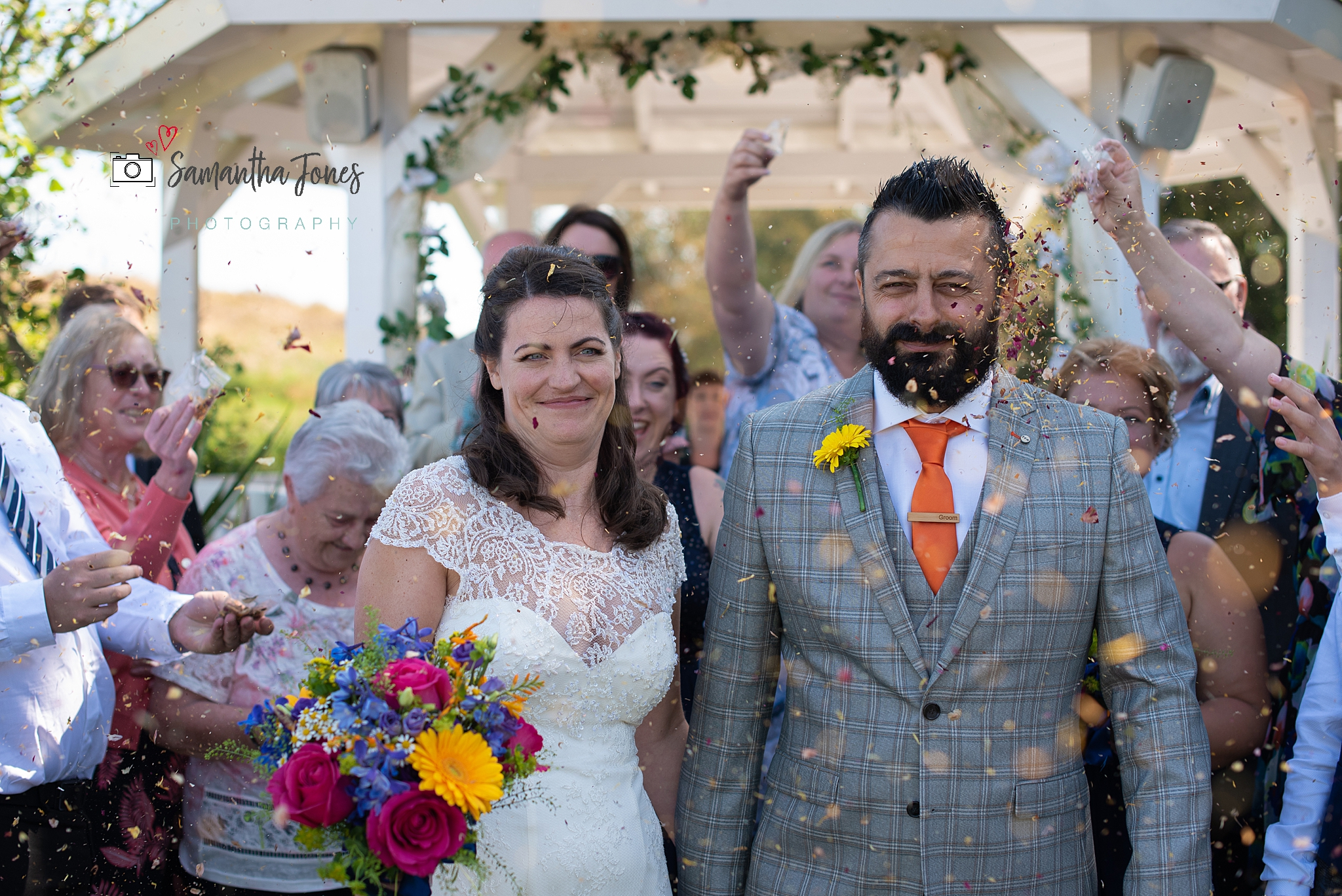 bride and groom confetti Kent wedding at Stonelees by Samantha Jones Photography