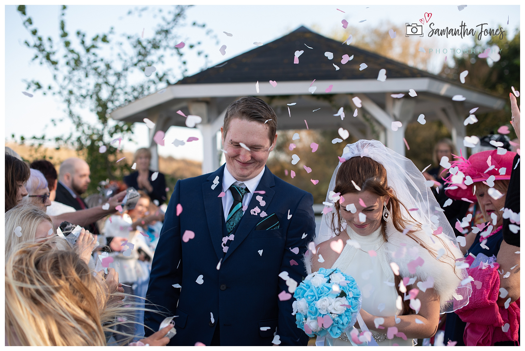 bride and groom twilight wedding confetti