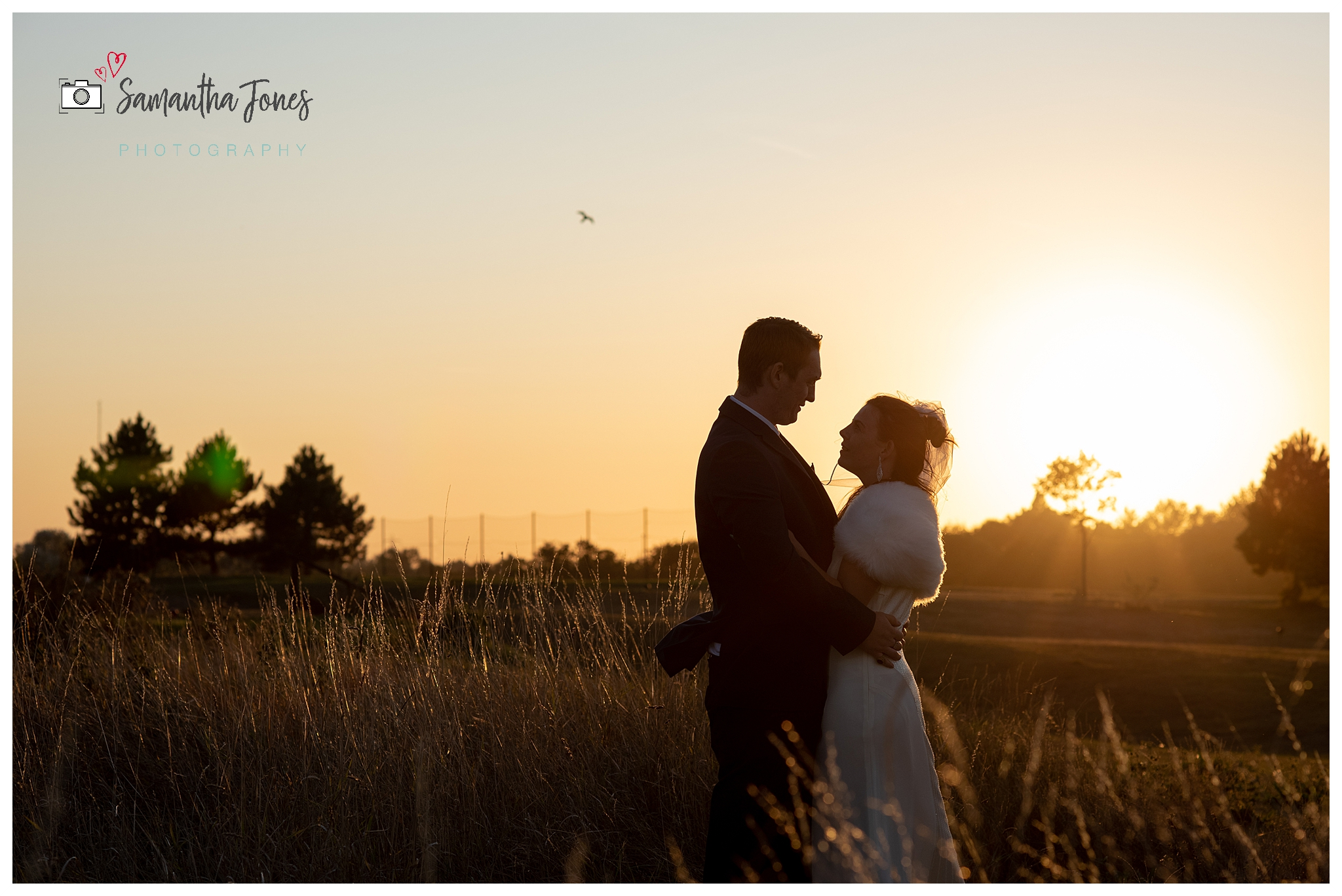 twilight wedding bride and groom golden hour