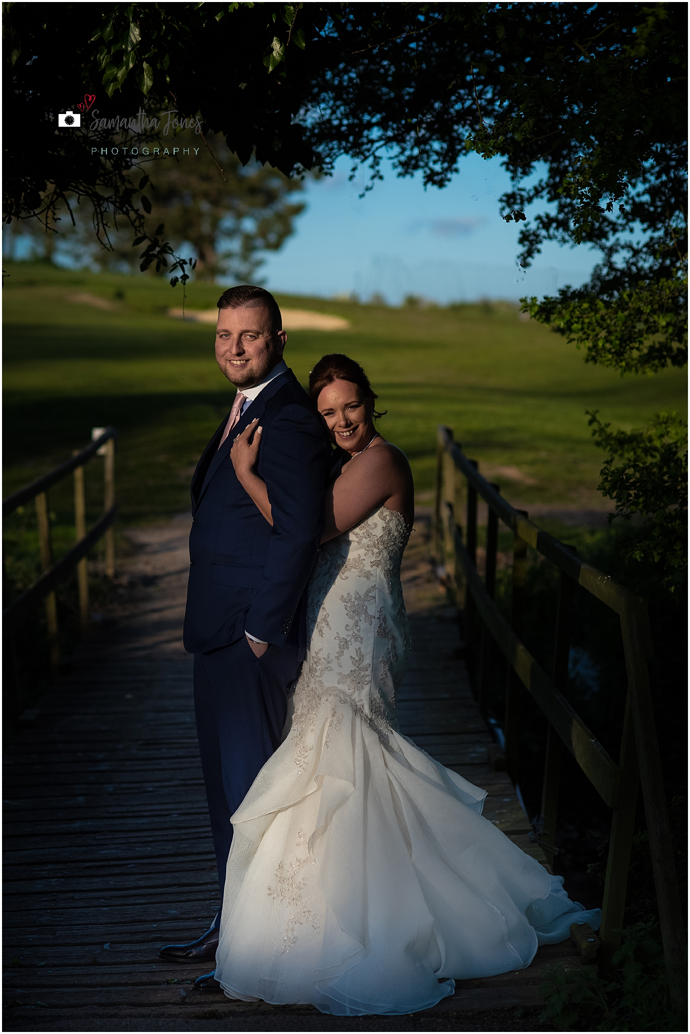 Emma and Aaron twilight wedding at Stonelees bride and groom portraits
