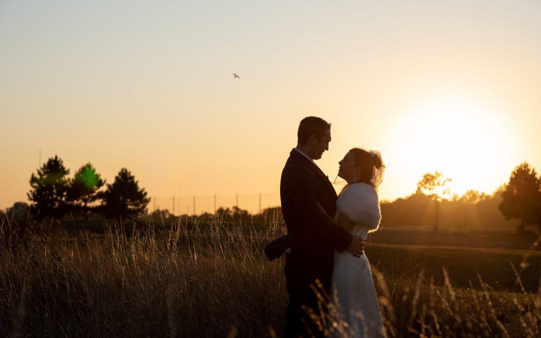 bride and groom twilight wedding