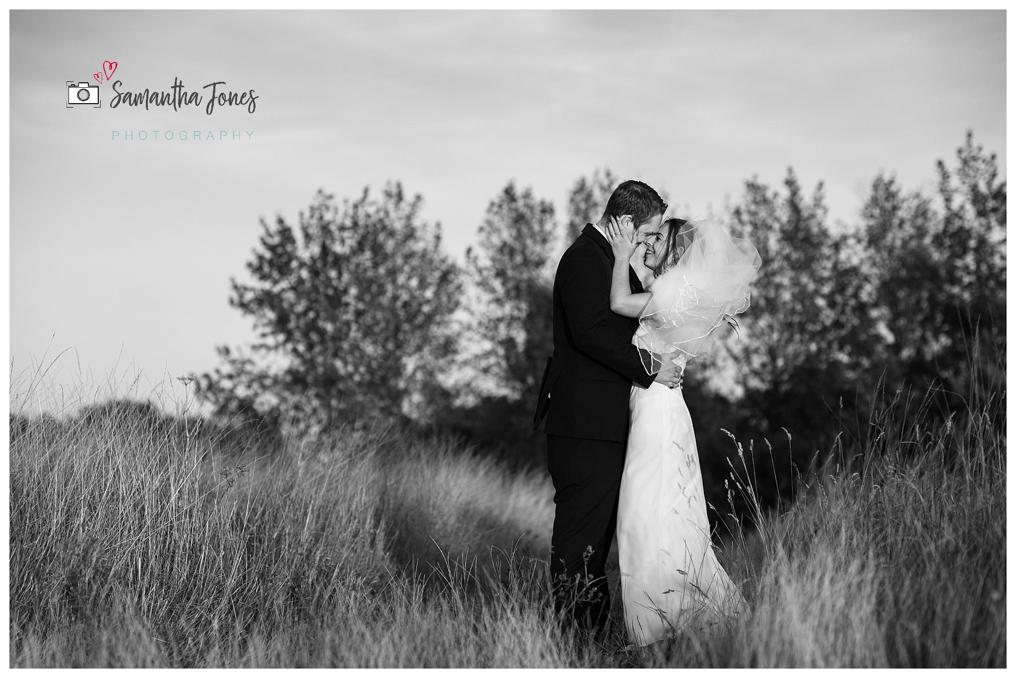 twilight wedding bride and groom golden hour
