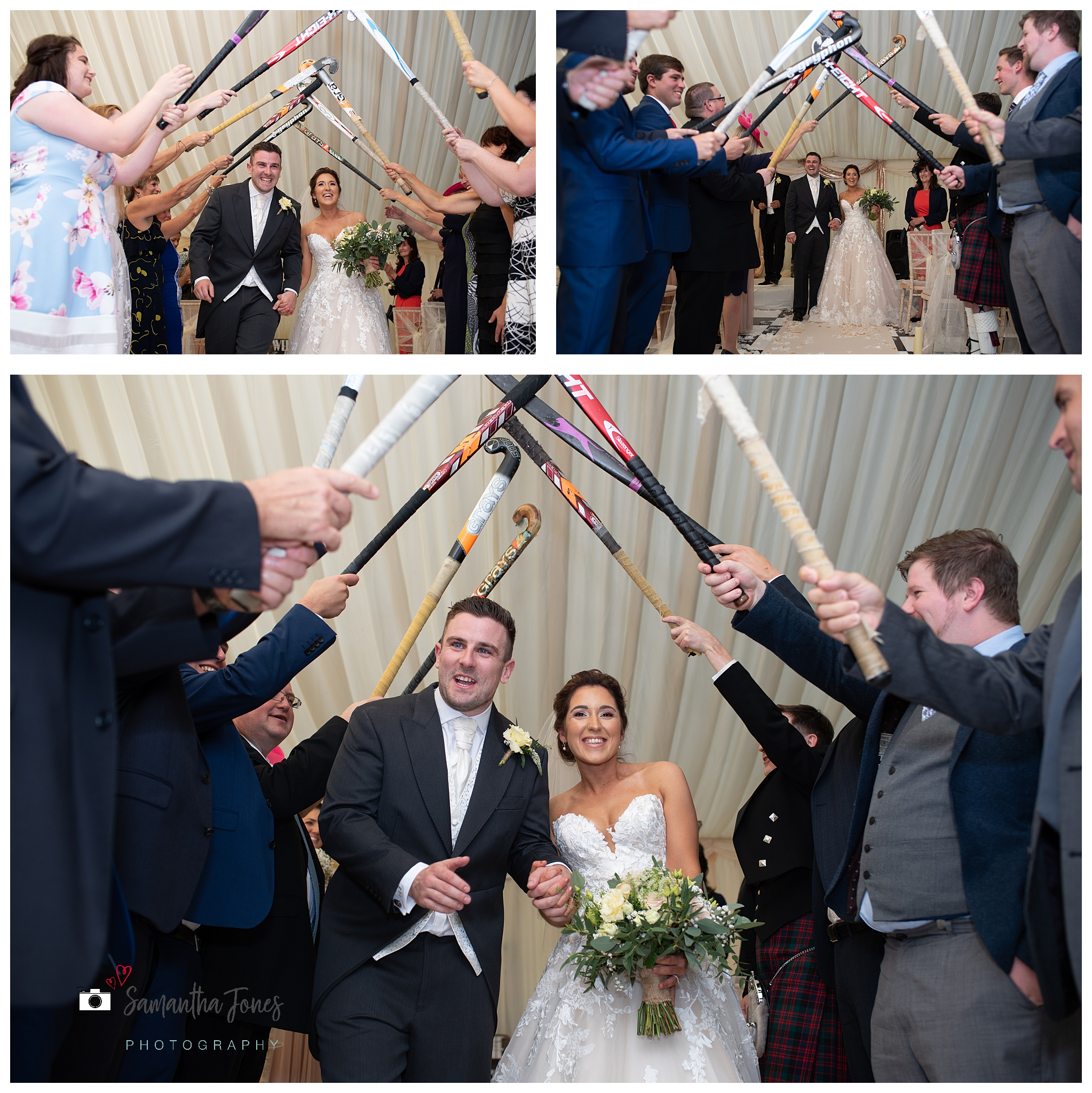 bride and groom September wedding hockey sticks