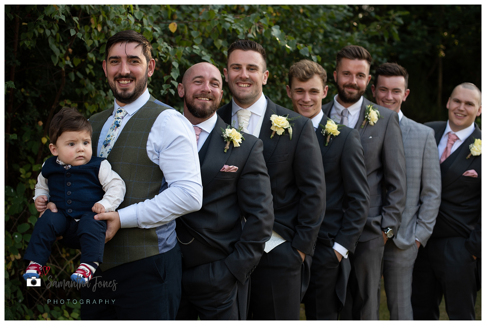 bride and groom September wedding groomsmen