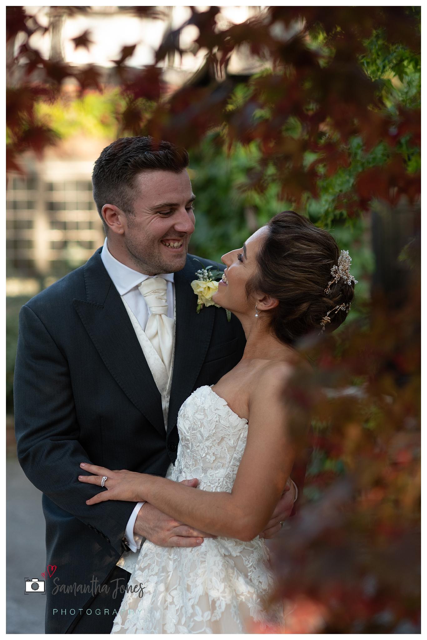 bride and groom September wedding portraits