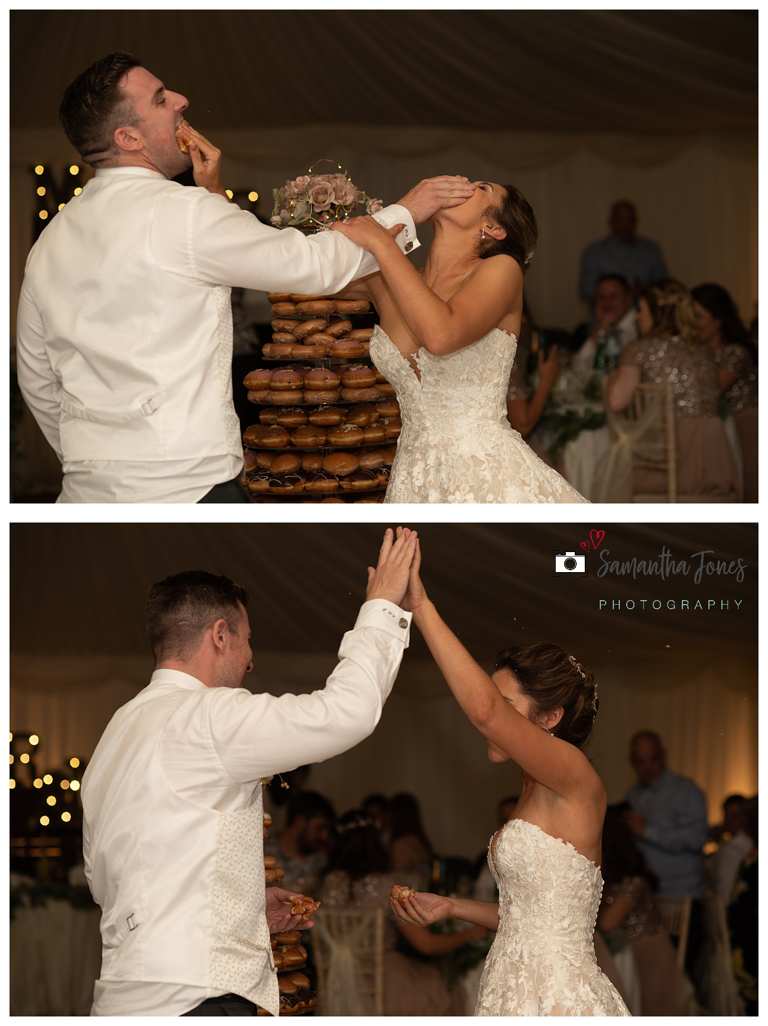 Krispy Kremes bride and groom September wedding non-traditional cake cuttin g