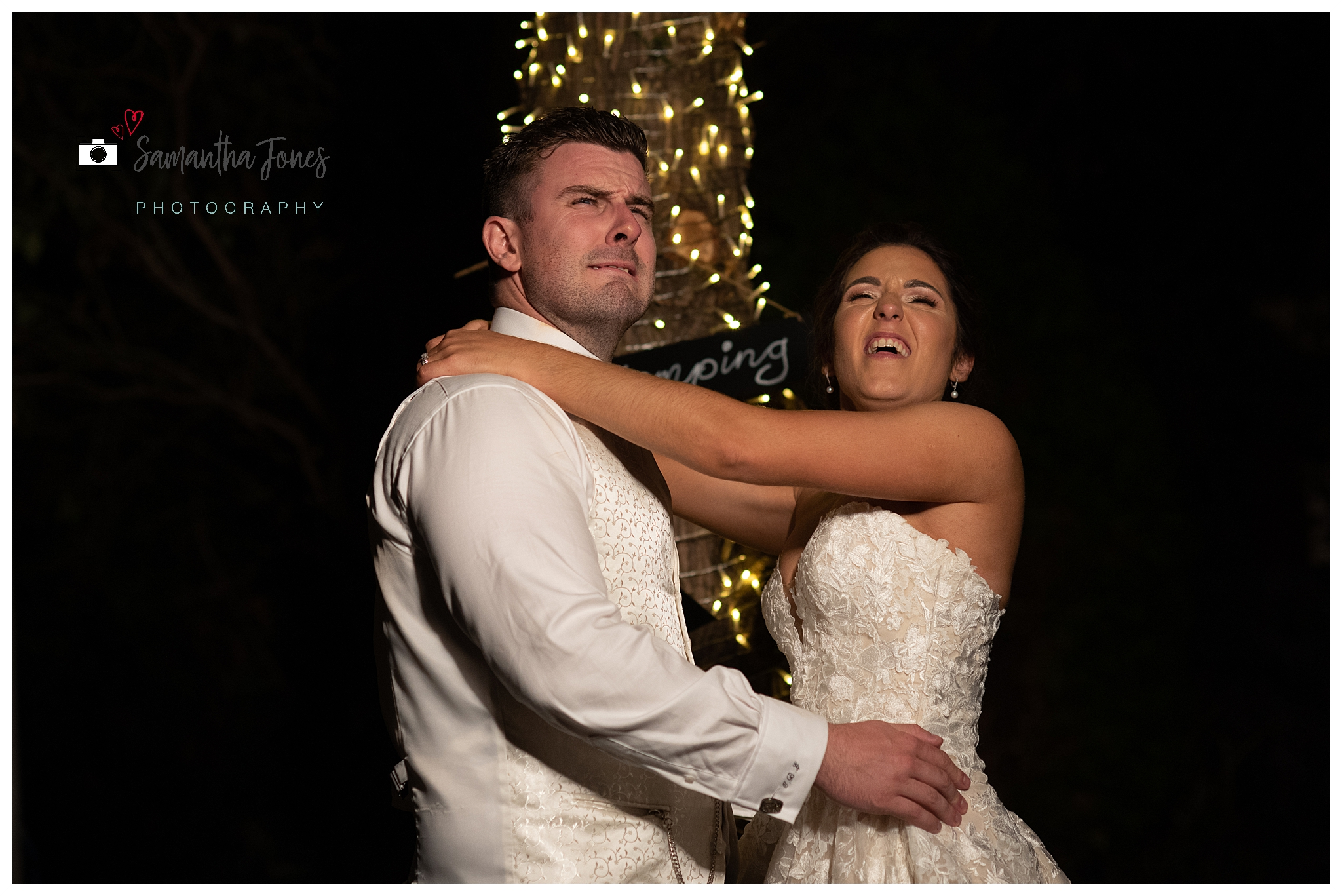 bride and groom September wedding look into the light