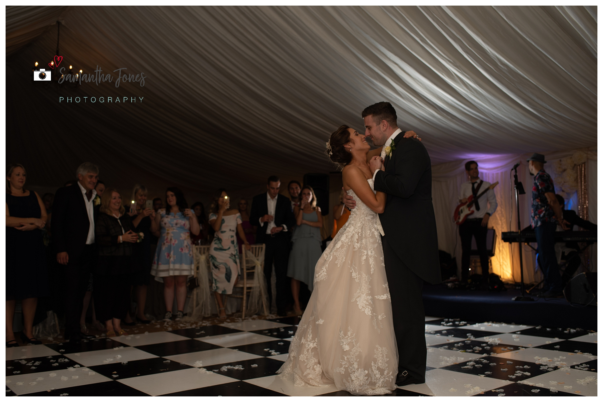 bride and groom September wedding first dance