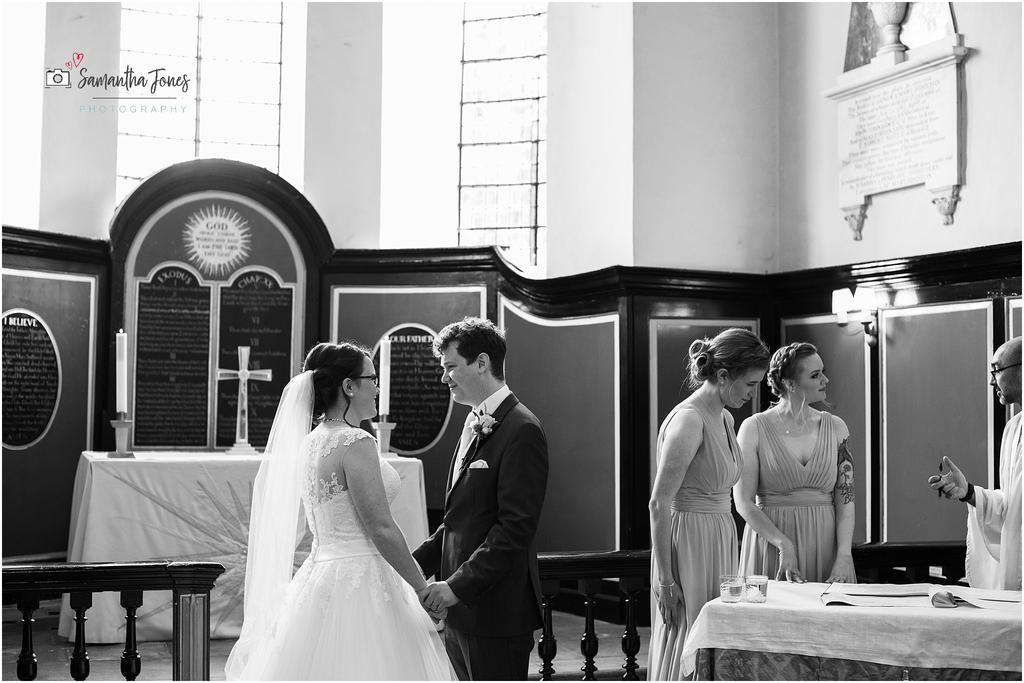 quiet moment with bride and groom
