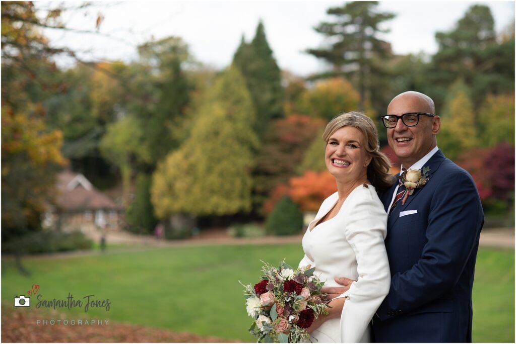 autumn wedding with happy couple