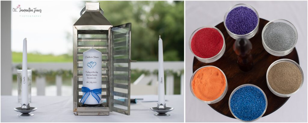 unity candle and sand ceremony items for celebrant-led ceremony