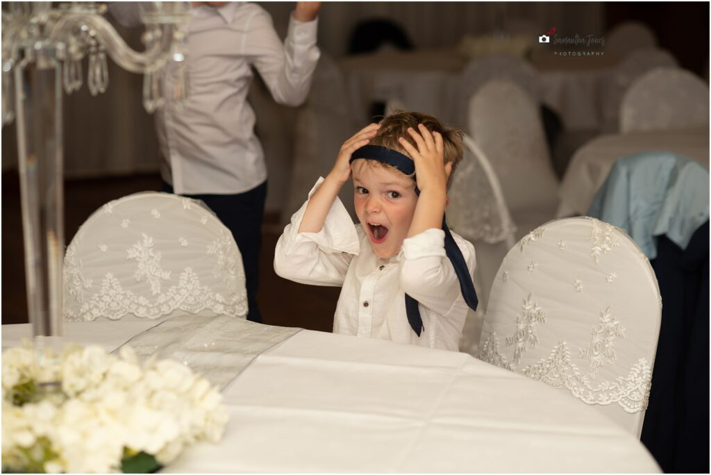 funny face at a wedding