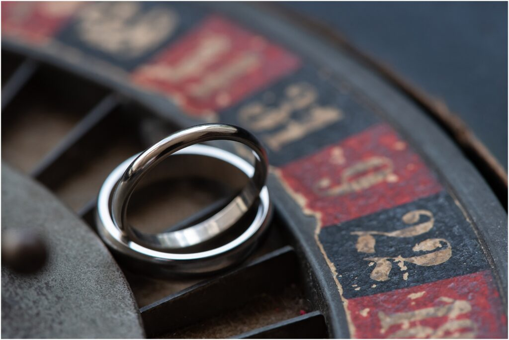 wedding rings on roulette wheel at Mount Ephraim