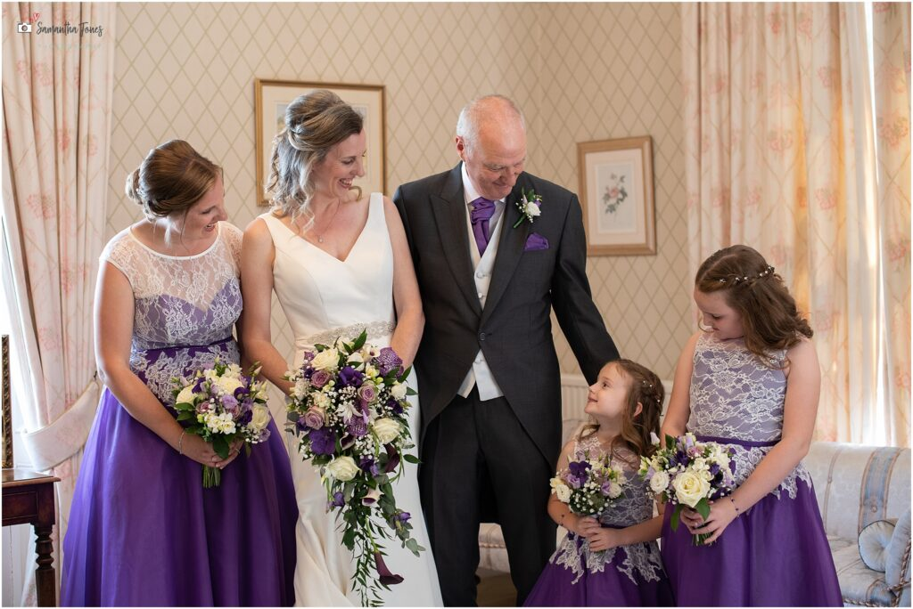 Laura and her bridal party in the bridal preparation room at Mount Ephraim