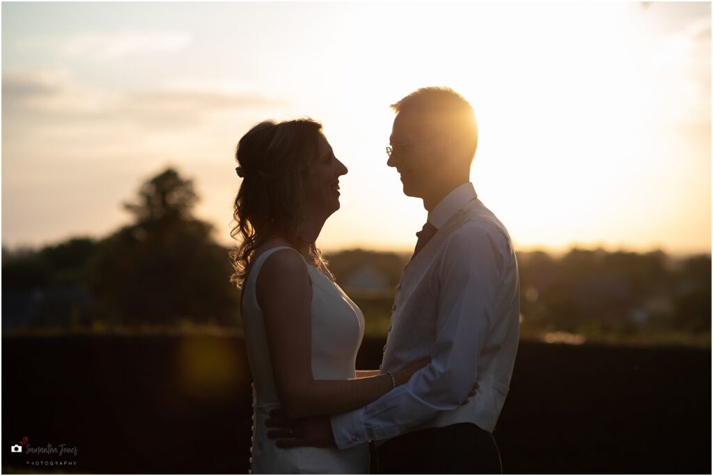 golden hour portraits of bride and groom at Mount Ephraim
