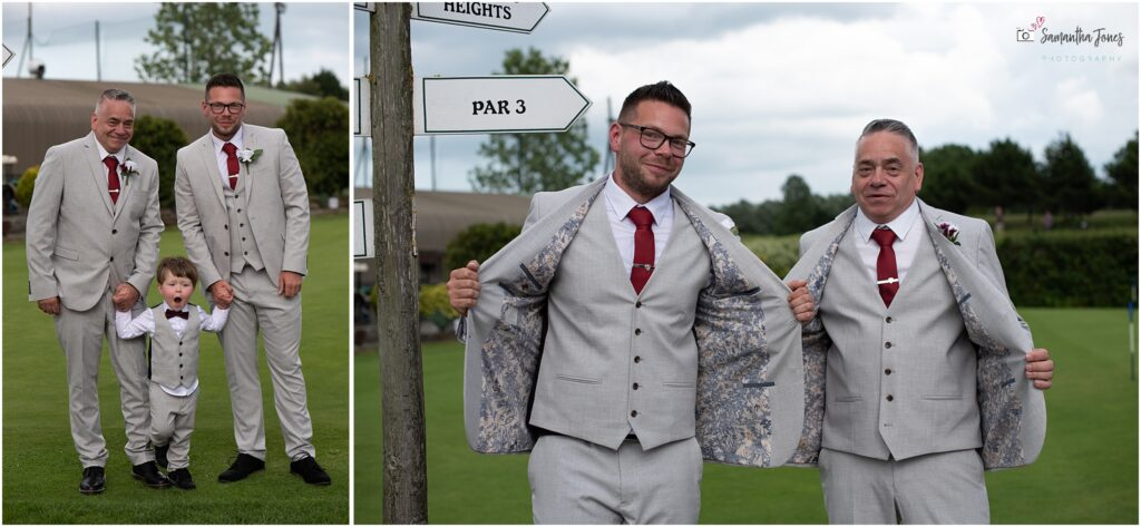 groom and best man with light grey suits and patterned linings