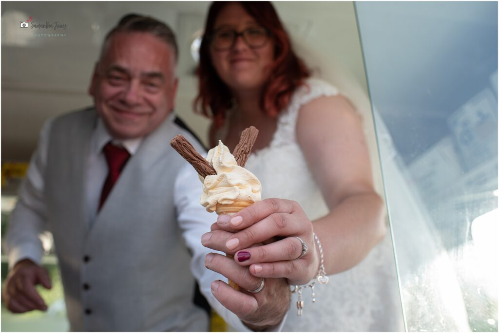 bride and groom serving ice cream to guests